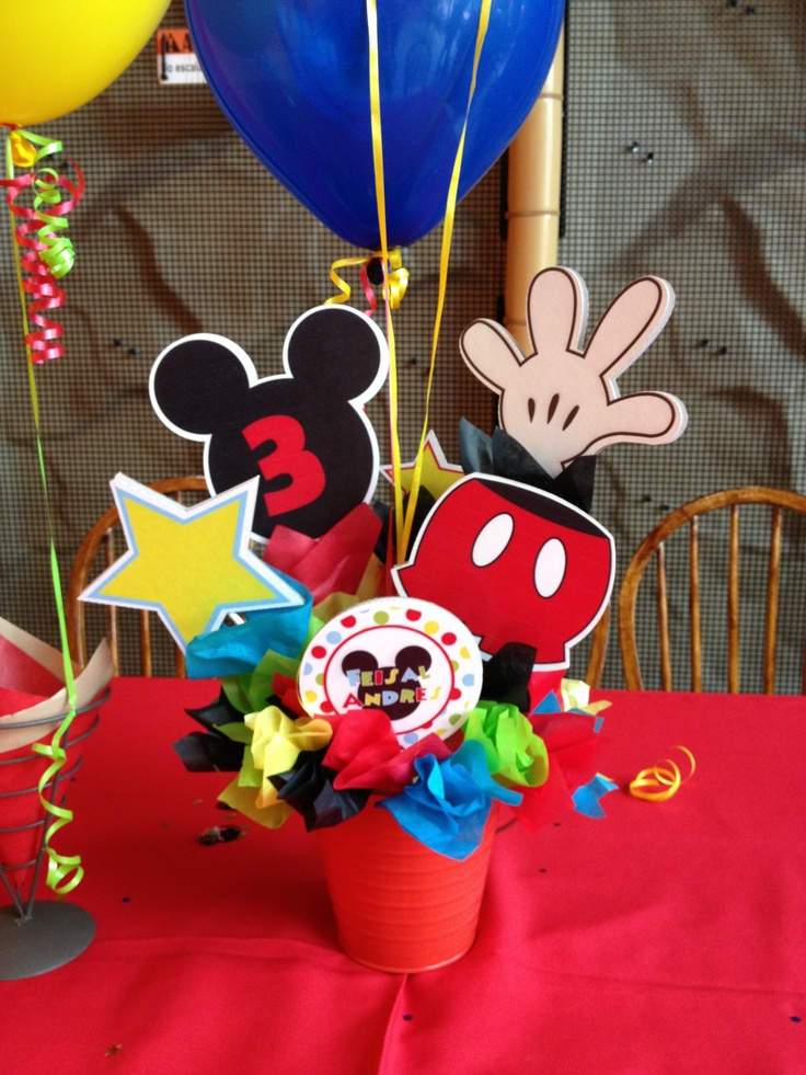 Mickey Mouse themed centerpieces put together using our ...