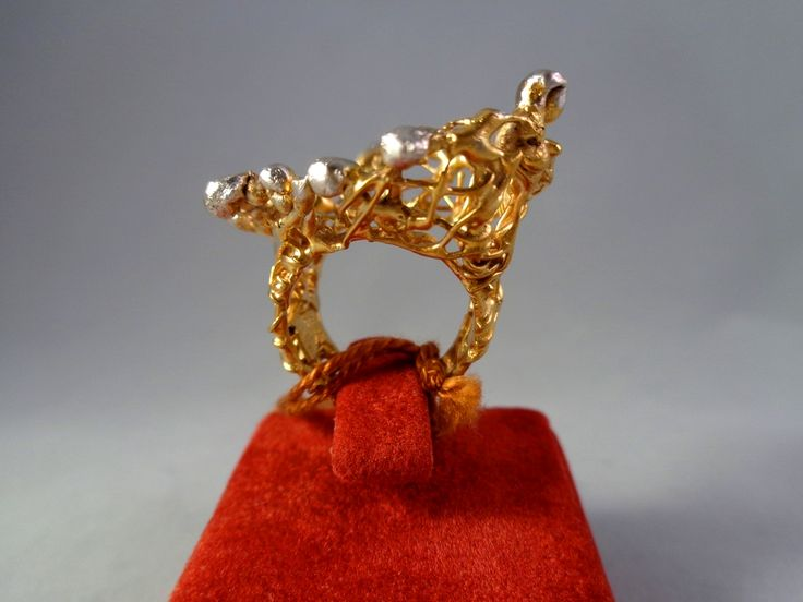 Handmade silver 925 ring with goldplated 18K