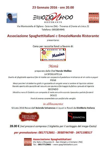 News di Spaghetti italiani - 23/01 - EmozioNando Ristorante - Salerno - Cena per I Bambini di Manina del Madagascar