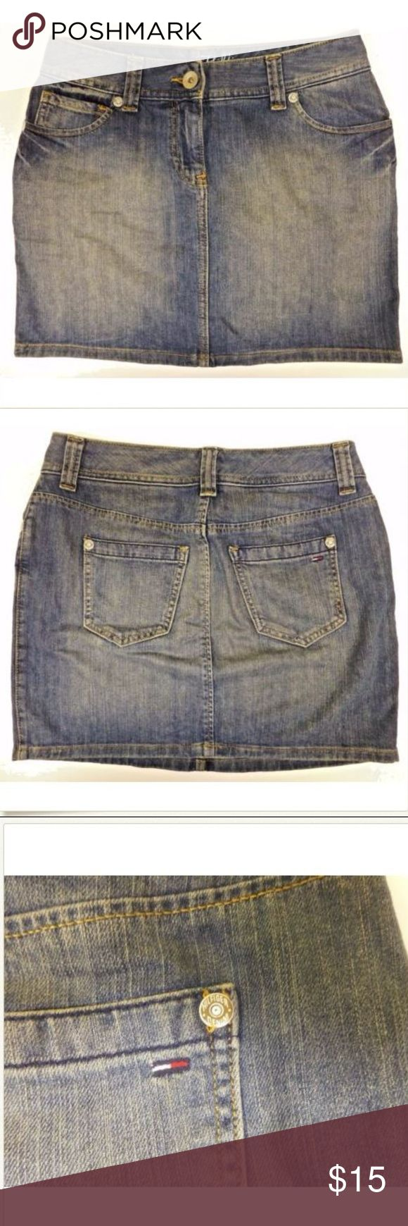 "Tommy Hilfiger 2 Denim Blue Jean Skirt - Front zip with button closure. - 5 pocket construction. - Factory fading. - 99% Cotton 1% Spandex. - Machine wash cold, inside out, tumble dry low.  15.5"" waistband laid flat. 16"" in length. Tommy Hilfiger Skirts Mini"