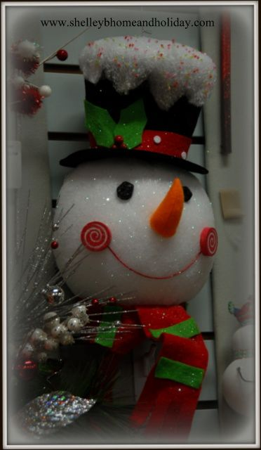 snowman head ornament.  flat back design makes this a great decoration for your Christmas tree or wreath  www.shelleybhomeandholiday.com