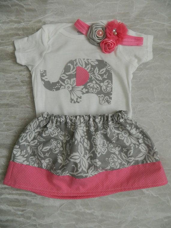 Baby Girl Elephant Outfit Onesie, Appliqued Onesie, Baby Headband, Baby Skirt, Elephant, Pink, Grey on Etsy, $44.95