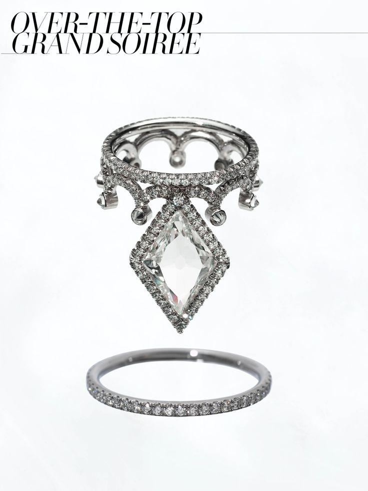 James de Givenchy for Taffin lozenge-cut diamond, diamond and platinum ring, Harry Winston micropav diamond wedding band,