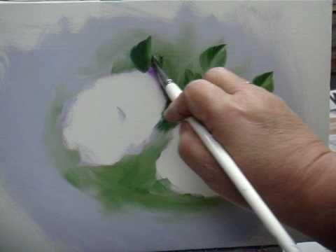 ボブロス画法で描くバラの花の描き方(No1葉) 下塗り LO 葉SG+UMB Bob Ross Painting Flower (NO1Leaf) www.ne.jp/asahi/nakayama/art/