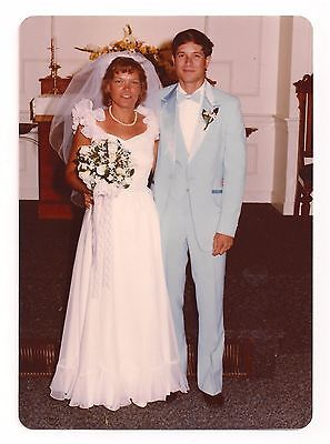 7b9f95d4c381b Bride-amp-Groom-1980-039-s-Wedding-Fashion-Vintage-Photograph-1982 ...