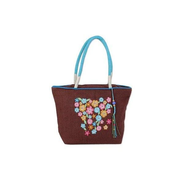 NOVICA Jute Blend Floral Tote Handbag in Chestnut from India (55 CAD) ❤ liked on Polyvore featuring bags, handbags, tote bags, accessories, brown, clothing & accessories, totes, man bag, handbags totes and zipper tote