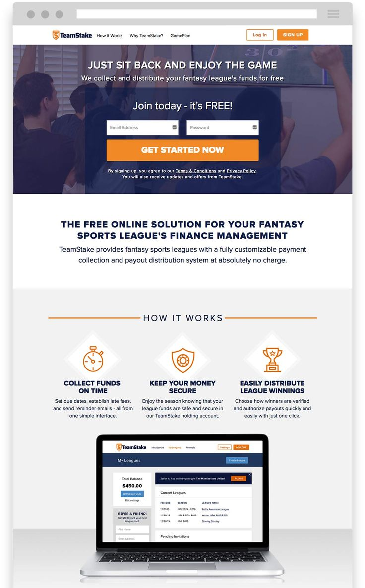 Website Screenshot for Fantasy Sports League's Finance