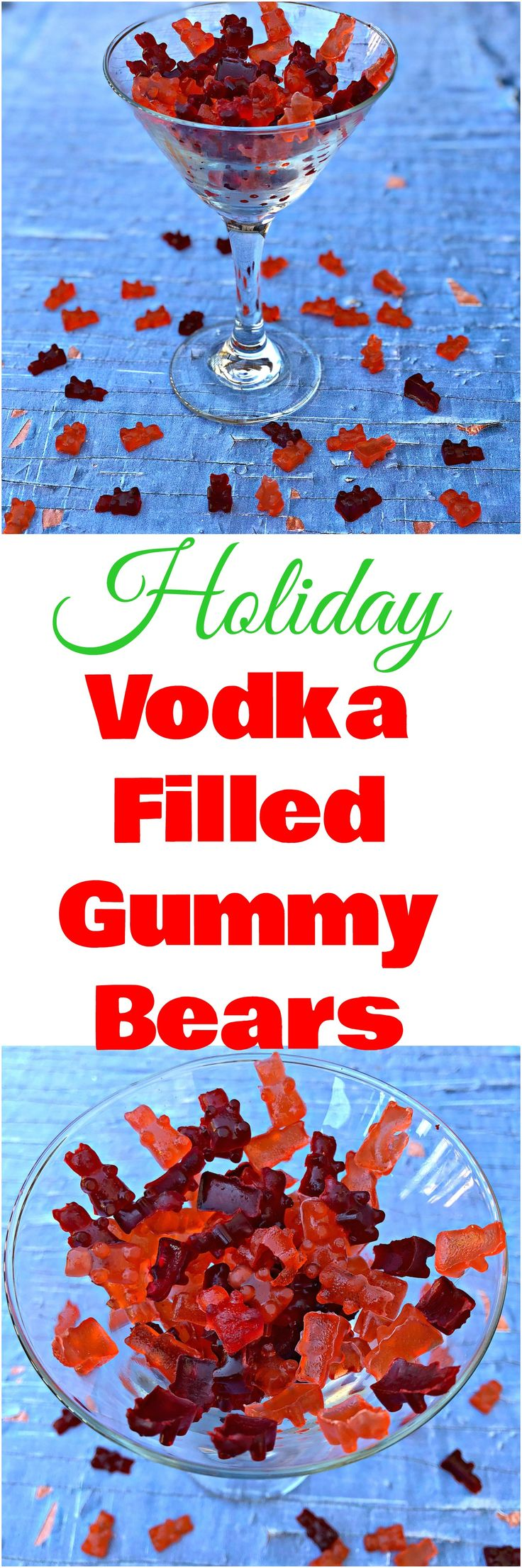 Vodka Filled Gummy Bear Shots have been molded with liquor and alcohol, a great alternative to vodka soaked gummy bears. Perfect for Jell-O shots for the holidays, Christmas, New Years Eve, and New Year's. #Cocktails #Holidays #Christmas #NYE #GummyBears #JelloShots #Shots #Dessert