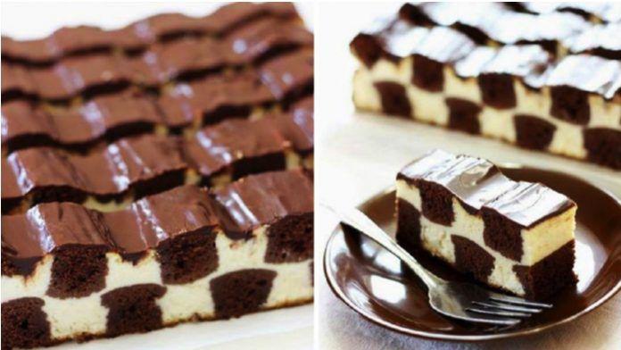 Čokoládový koláč v tvare šachovnice