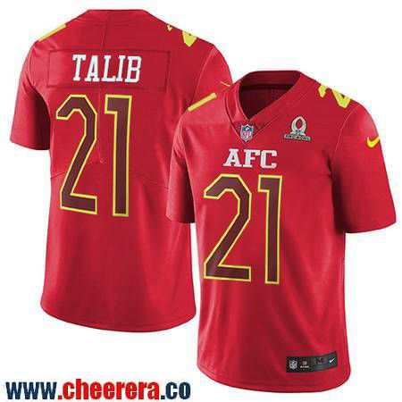 Wholesale Men's Denver Broncos #21 Aqib Talib Red AFC 2017 Pro Bowl Stitched  free shipping