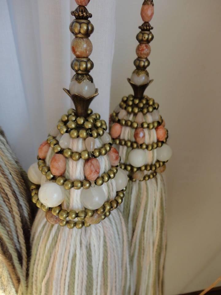Borlas para cortinas adornos pinterest beads for Bases para colgar cortinas