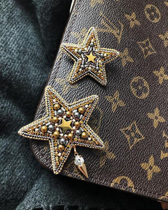 Beaded star brooch