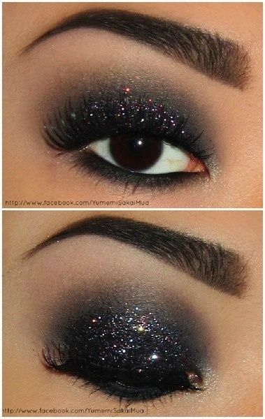 Midnight Eyeshadow  Line with black, then dk charcoal shadow from the bottom up to the crease, then lighter gray above the crease, lt. pink under the brow, then glitter all over the lid.
