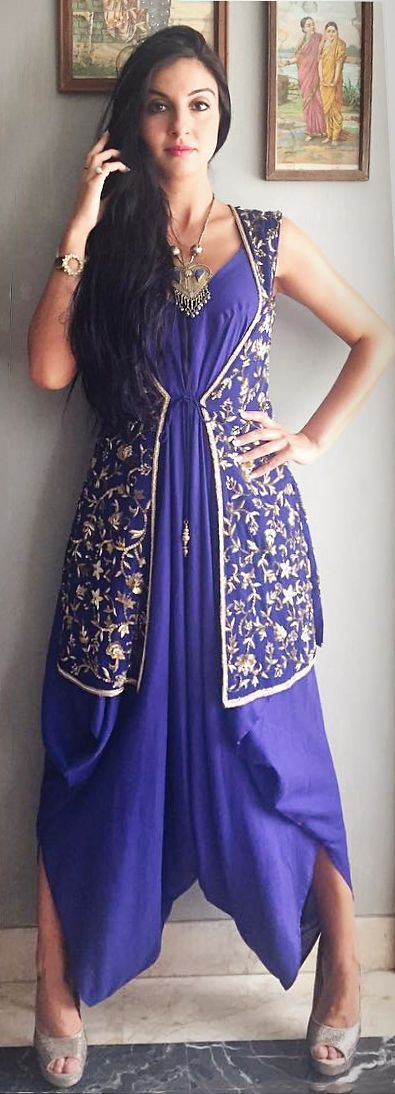 valentina_manduchi in blue embroidered jacket and draped-cowled outfit by Rashmi Bagai