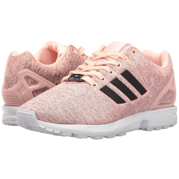 adidas Originals ZX Flux (Mystery Blue/Haze Coral/White) Women's... ($90) ❤ liked on Polyvore featuring shoes, white lace up shoes, adidas originals, white shoes, coral blue shoes and cushioned shoes