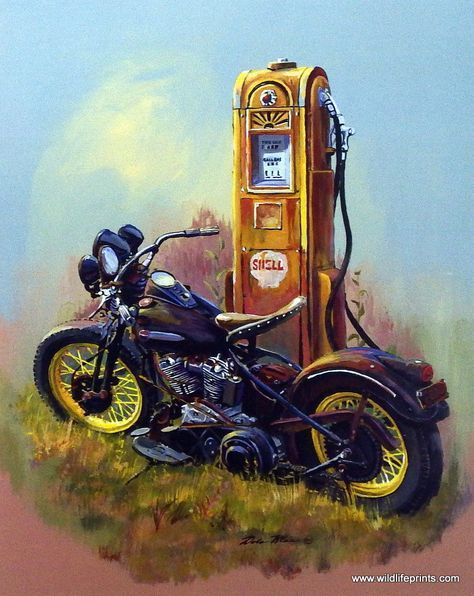 Dale Klee's print BARE BONES pictures a classic Harley Davidson motorcycle parked next to an old Shell Oil gasoline pump. Nostalgic reminder of the old days. Available in a signed and numbered limited