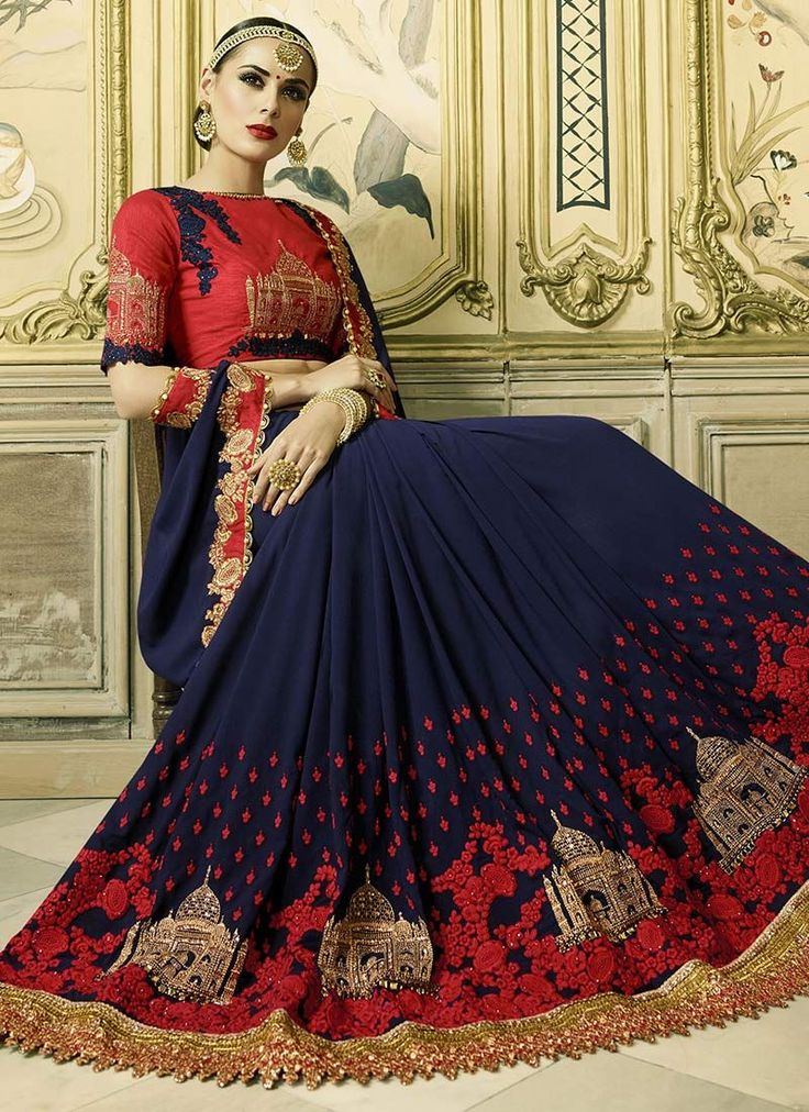 Buy Delightsome Navy Blue Patch Border Work Faux Georgette Classic Designer Saree Online : Switzerland