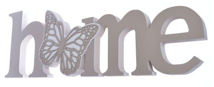 Napis Home z motylkiem
