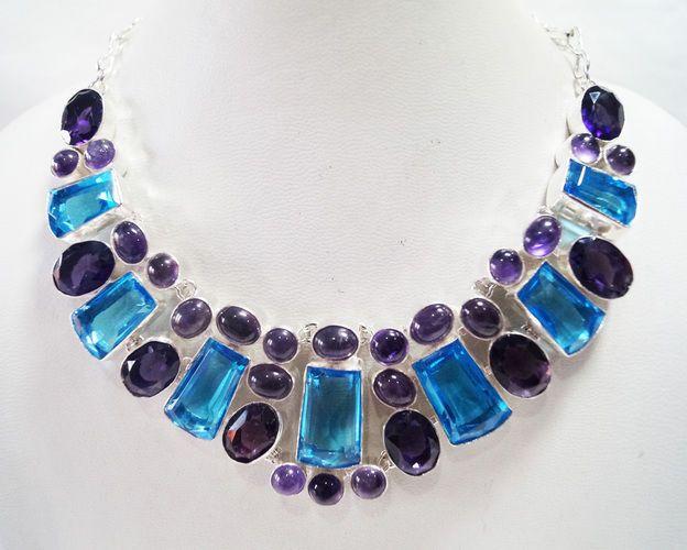 Genuine Amethyst Blue Quartz necklace, handcraft amethyst  blue quartz necklace #Collet