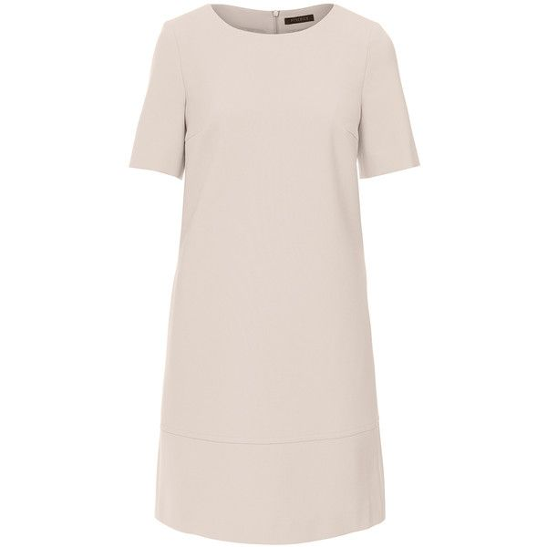 Peserico Beige Elbow Sleeve Shift Dress. This Peserico dress is the perfect representation of the brand's dedication to precise tailoring and detail. Crafted from a luxurious feeling, mid-weight polye…