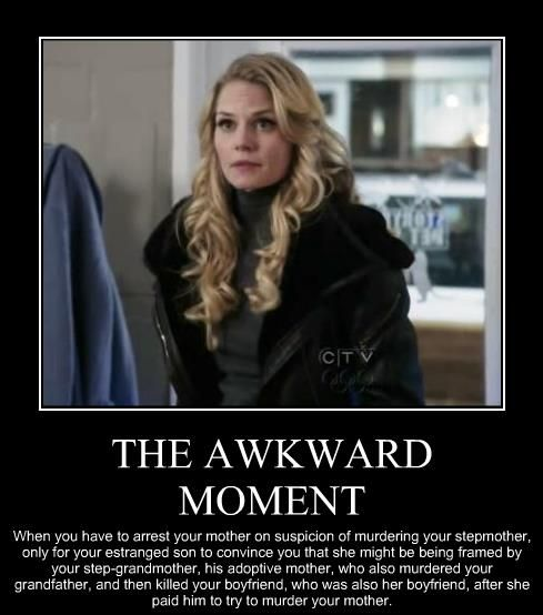 Once Upon A Time: Thx for that awkward moment...and all the other awesomeness you delivery on Sundays. :)