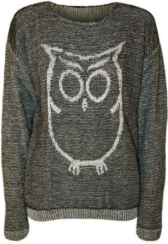 PaperMoon Women's Owl Long Sleeve Knitted Jumper: Clothing
