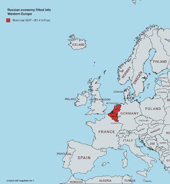 Ινφογνώμων Πολιτικά: Η προβολή ολόκληρου του ρωσικού ΑΕΠ (1,4 τρισ. δολλαρια ) στο ΑΕΠ της δυτικής Ευρώπης