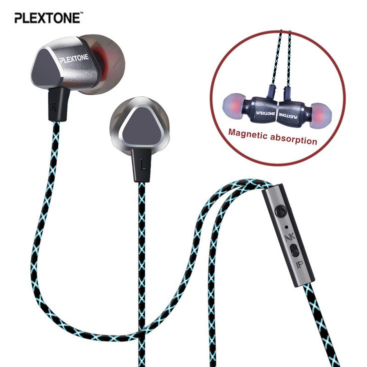 Plextone X36M Earphones Magnetic 3.5mm Bass Stereo Earpiece Noise Cancelling Earbuds Headset with Mic for iPhone Huawei Vivo LG