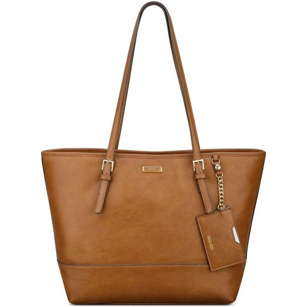 Nine West Ava Tote ($55) ❤ liked on Polyvore featuring bags, handbags, tote bags, tobacco, shoulder strap handbags, nine west, indian handbags, nine west handbags and white tote bag
