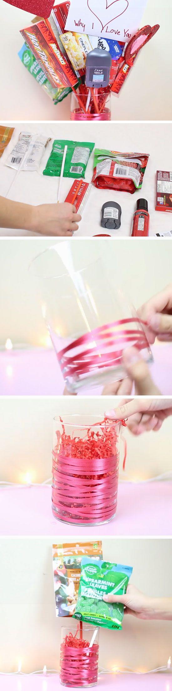 Man Bouquet   DIY Valentines Mason Jar Crafts for Him   Easy Gifts in a Jar Ideas for Boyfriend