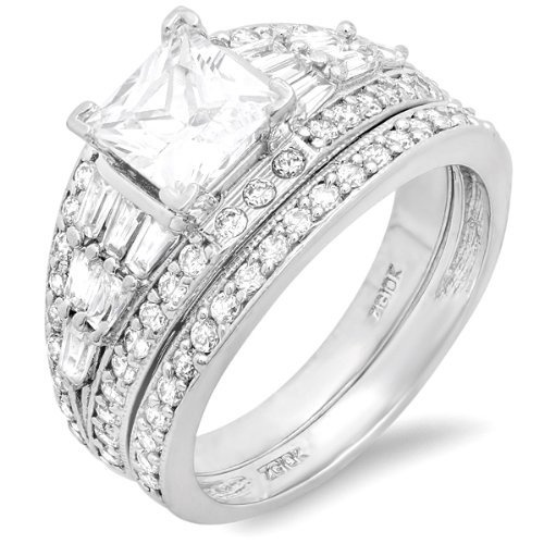 10k White Gold Princess, Round & Baguette Cubic Zirconia CZ Ladies Bridal Engagement Ring Set with Matching Band DazzlingRock Collection,http://www.amazon.com/dp/B009D2RPTK/ref=cm_sw_r_pi_dp_2HTIrb72338F4FA8