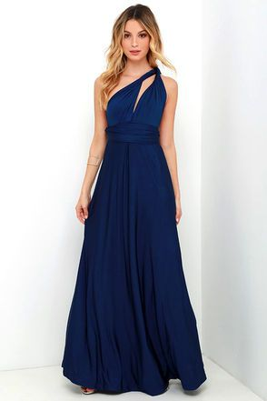 """Any which way you wrap it, the Always Stunning Convertible Navy Blue Maxi Dress is one amazing dress! Two, 82"""" long lengths of fabric sprout from an elastic waistband and wrap into dozens of possible bodice styles including halter, one-shoulder, cross-front, strapless, and more. Stretchy navy fabric has a satiny sheen, and a full length maxi skirt pairs perfectly with any choice you make up top. Want Styling Tips? <a href='http://bit.ly/HowToWearIt' target&..."""