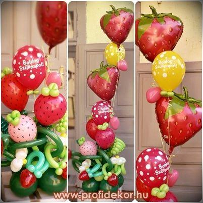 Héliumos eprek virágokkal, levelekkel