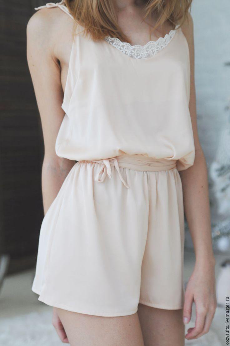 Купить Домашний комбинезон - домашняя одежда, пижама, шелковая пижама, одежда на заказ, шелк, кружево