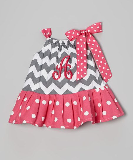 Gray Zigzag Initial Dress - Infant & Toddler