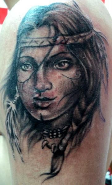 Native indian woman tattoo the image for Indian woman tattoo