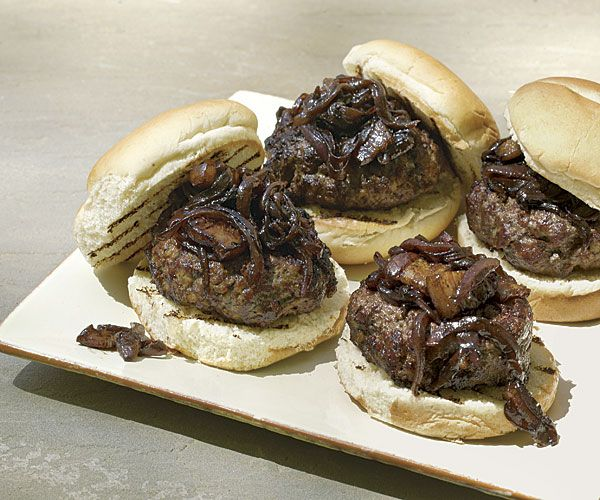 Bacon Burgers with Bacon-Onion-Balsamic Jam recipe - would definitely do as sliders, maybe on my homemade pretzel slider rolls - yum! :)