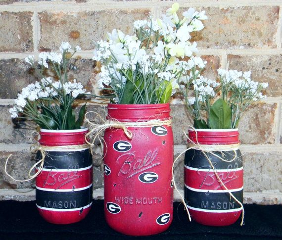 University of Georgia UGA bulldogs painted chalk paint mason jar vase set pint quart Ball Go Dawgs!