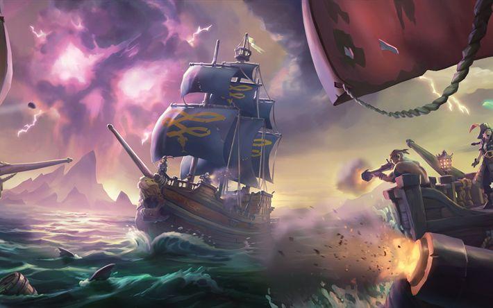 Lataa kuva Sea Of Thieves, 4k, toiminta, seikkailu, 2017 pelejä