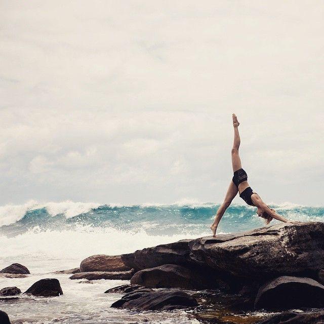 Crash into me. #yoga #balance #waves