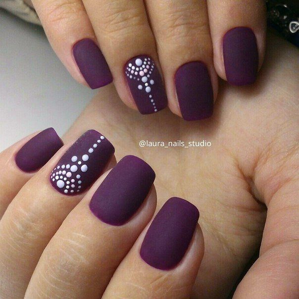 A strict and very impressive variant of nail design. A full coverage of nail plate by matte dark plum lacquer creates a feeling of softness and tenderness.