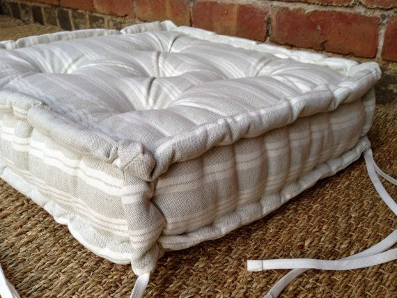 Handmade Seat Pad/Box Cushion in Susie Watson Grey/Ivory Cambridge Stripe 100% Cotton, French Mattress Style, Hand Tufted with a French Mattress Edge, Dining Set, Country & Vintage inspired, Bespoke Sizes & Shapes A gorgeous seat pad perfect for use as part of a classic dining