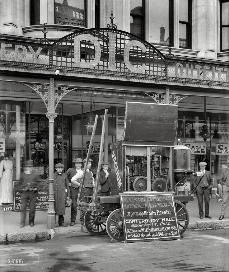 """Christchurch, New Zealand, circa 1910. """"Vacuum Cleaning Company machine at DIC store."""""""