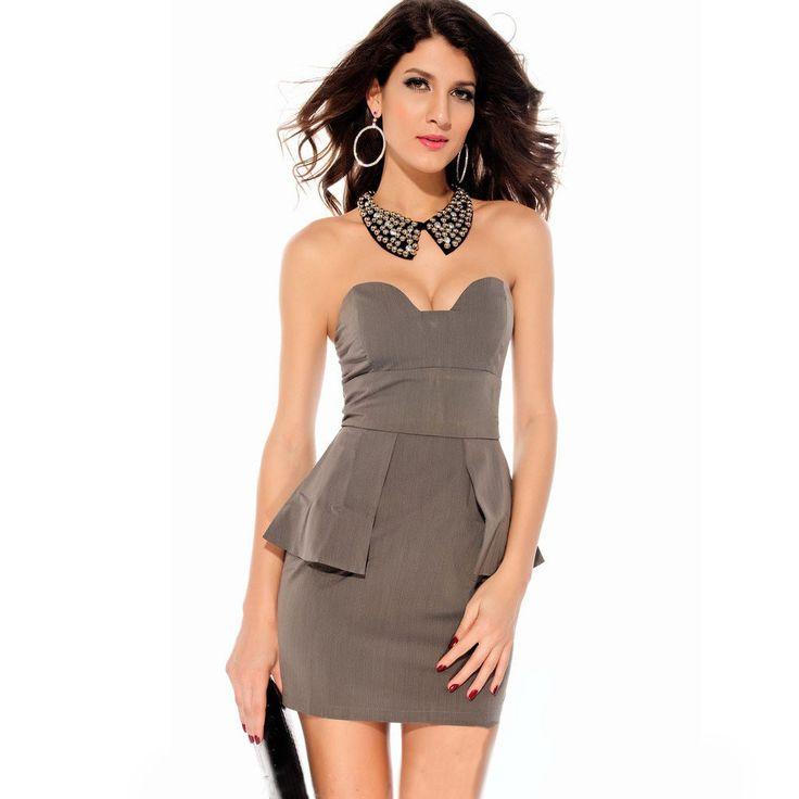 Charlee Cooper Grey Strapless Sleeveless Peplum Mini Dress