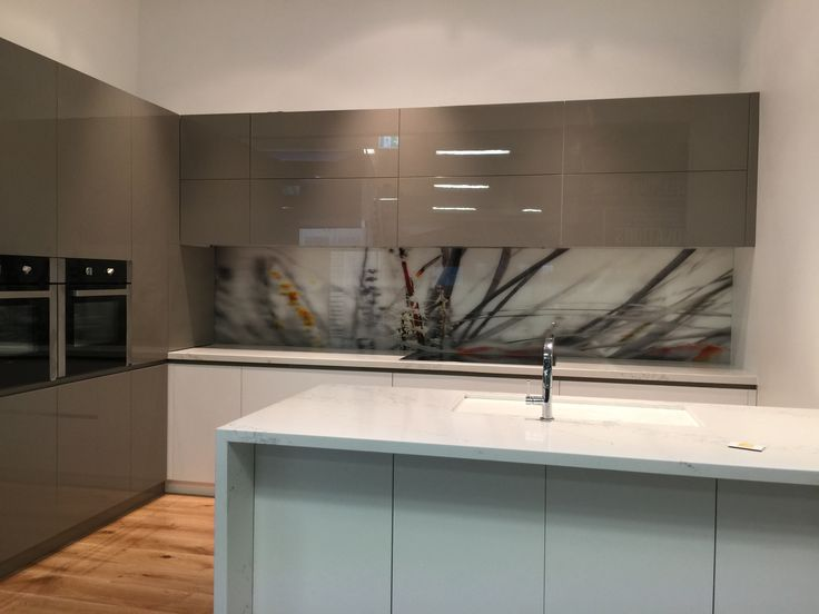 """Printed Glass Splashback created for """"Bossini Kitchen's"""" Display Stand - Mornington Peninsular. Created, Printed & Installed By Seein."""