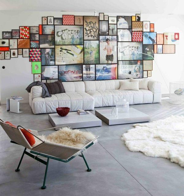 Wohnzimmer Wanddeko Bilder Fotowand skandinavischer Stil