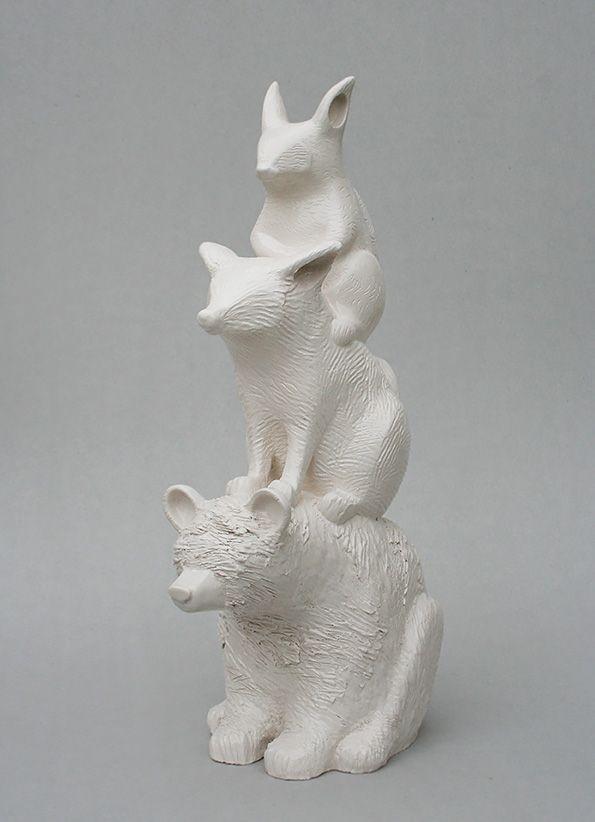 Totem for animals of the forest by Aura Kajas, 2017. Bear, Fox and Squirrel. Handbuilt unique piece. Art, ceramics, sculpture.