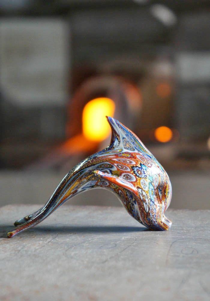 #Murano #glass #fish #dolphin with #Murrina and #gold.--- #Delfino #vetro #Murano con #Murrina e #oro.