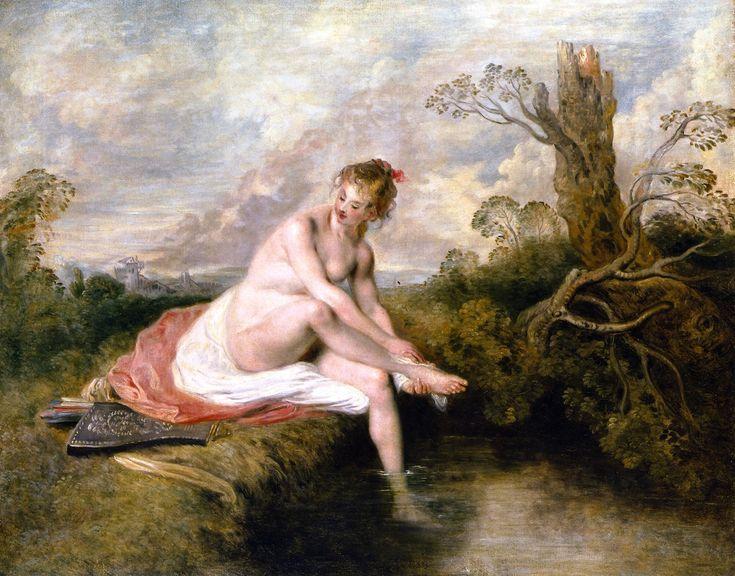 Antoine Watteau (French 1684–1721) [Rococco] Diana at her Bath, 1715-1716. Musée du Louvre, Paris. The Athenaeum