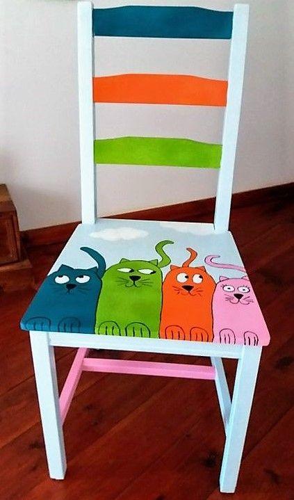 Legende  Dekorationsmalereien auf Stühlen, Ideen bereiten Stuhl auf, verzieren Stuhl.